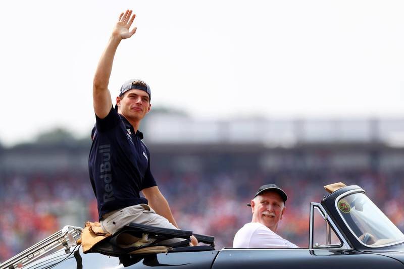 HOCKENHEIM, GERMANY - JULY 22:  Max Verstappen of Netherlands and Red Bull Racing waves to the crowd on the drivers parade before the Formula One Grand Prix of Germany at Hockenheimring on July 22, 2018 in Hockenheim, Germany.  (Photo by Dan Istitene/Getty Images)
