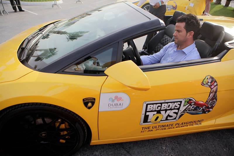 Dr. January 31, 2013 (Dubai) Stephan Guerrouche takes a test drive in a Lamborghini Diablo at the Big Boy Toys 2013 in Dubai January 31, 2013 (Sammy Dallal / The National)
