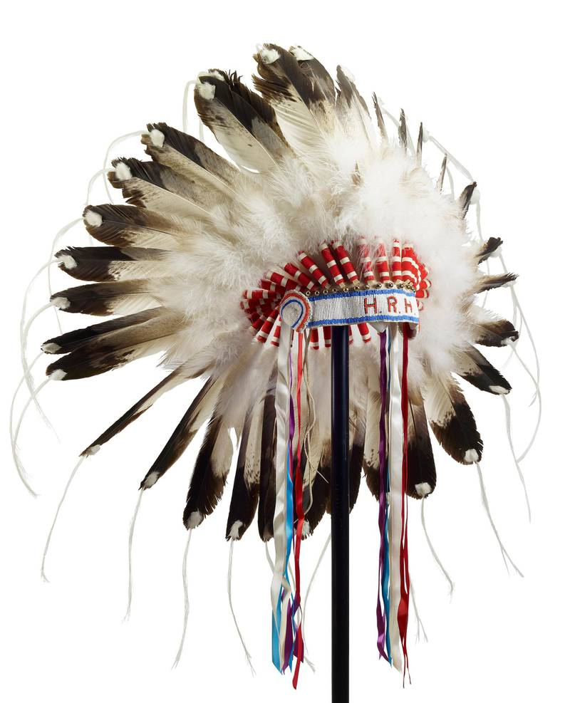 A First Nations feather headdress presented to Prince Philip by Jim Shot Both Sides, Head Chief of the Blood Reserve, during a Commonwealth Visit to Canada in 1973. Courtesy Royal Collection Trust