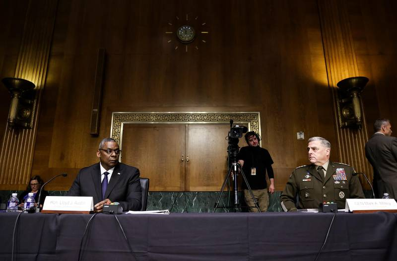 epa09280210 U.S. Defense Secretary Lloyd Austin and Joint Chiefs of Staff Chair Gen. Mark Milley testify on the defense department's budget request during a Senate Appropriations Committee hearing on 'A Review of the FY2022 Department of Defense Budget Request' on Capitol Hill in Washington, DC, USA, 17 June 2021.  EPA/EVELYN HOCKSTEIN / POOL