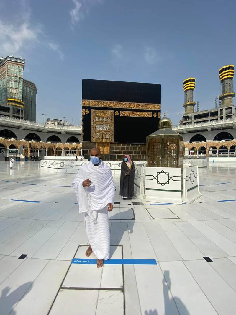 Dr Hamza Alherz at the holy mosque of Makkah. Courtesy Dr Hamza Alherz