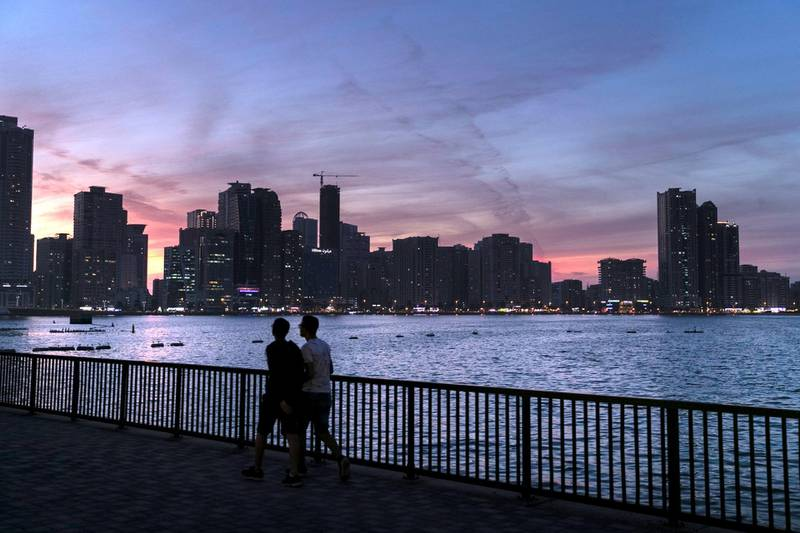 SHARJAH, UNITED ARAB EMIRATES - JANUARY 10, 2019. Sunset at Al Majaz waterfront in Sharjah.(Photo by Reem Mohammed/The National)Reporter: Section:  NA