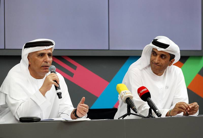 Dubai, March 04, 2018: (L) Mattar Al Tayer and (R) Abdulla Al Basti gestures during the press conference to announce the GOV Games in Dubai. Satish Kumar for the National/ Story by Caline Malek