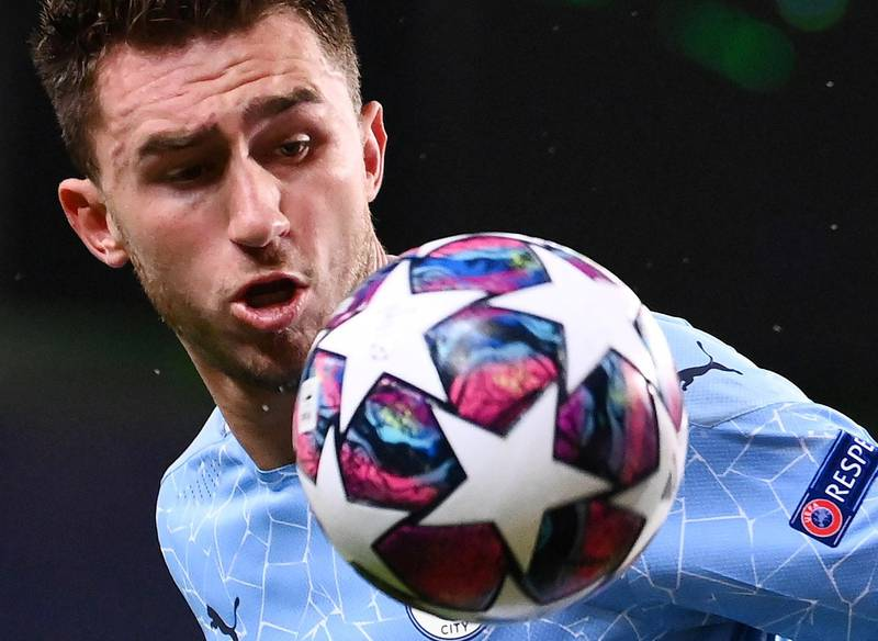 Soccer Football - Champions League Quarter Final - Manchester City v Olympique Lyonnais - Jose Alvalade Stadium, Lisbon, Portugal - August 15, 2020 Manchester City's Aymeric Laporte in action, as play resumes behind closed doors following the outbreak of the coronavirus disease (COVID-19)  Franck Fife/Pool via REUTERS