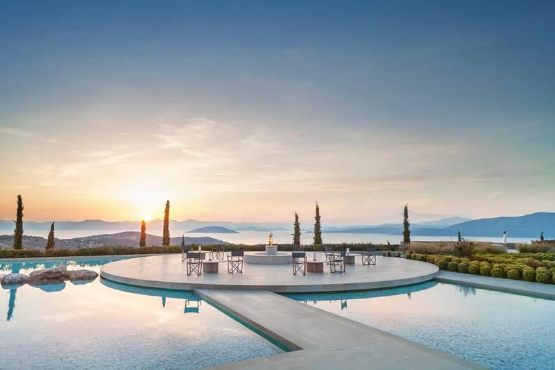 Amanzoe, Greece - Resort, Main Terrace, Fire pit
