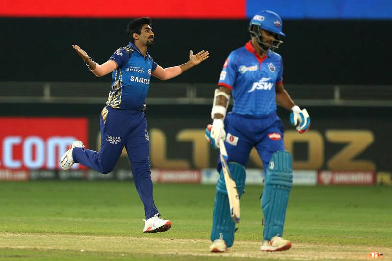 Jasprit Bumrah of Mumbai Indians celebrates the wicket of Shikhar Dhawan of Delhi Capitals during the qualifier 1 match of season 13 of the Dream 11 Indian Premier League (IPL) between the Mumbai Indians and the Delhi Capitals held at the Dubai International Cricket Stadium, Dubai in the United Arab Emirates on the 5th November 2020.  Photo by: Ron Gaunt  / Sportzpics for BCCI