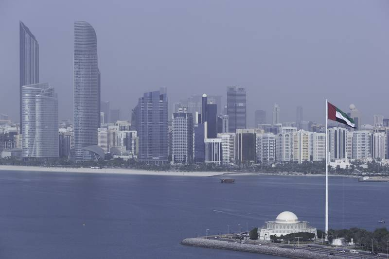 Abu Dhabi, United Arab Emirates, April 10, 2017:     General view of the the Abu Dhabi Theatre and downtown skyline seen from the observation tower at Marina Mall in Abu Dhabi on April 10, 2017. Christopher Pike / The National  Reporter:  N/A Section: Business Keywords:       *** Local Caption ***  CP0410-bz-STOCK-skyline-06.JPG