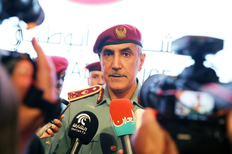 ABU DHABI , UNITED ARAB EMIRATES , JULY 24 – 2017 :- Mohammed K Al Romaithi , Deputy Commander – in Chief of Abu Dhabi Police speaking to the media personals after the launch of new logo of Abu Dhabi Police at the Armed Forces Officers Club in Abu Dhabi . ( Pawan Singh / The National ) Story by Haneen