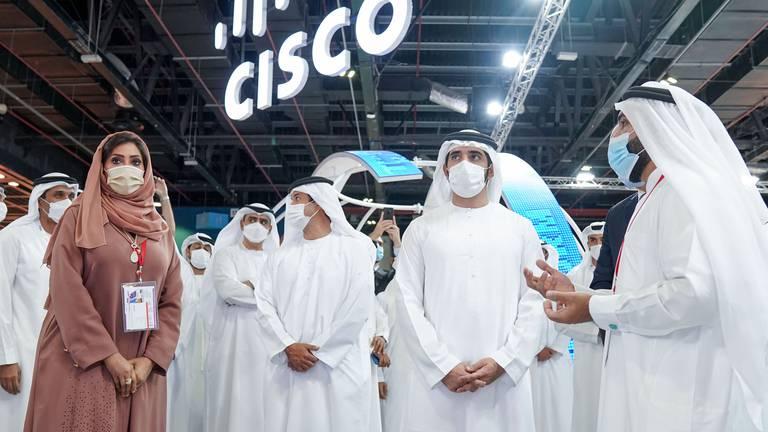 An image that illustrates this article Sheikh Hamdan bin Mohammed tours Dubai's Gitex on opening day