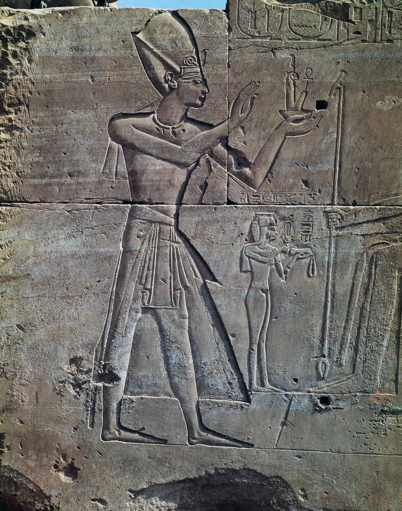EGYPT - CIRCA 2003: Thutmose III, relief, Temple of Amun, Karnak Temple Complex (Unesco World Heritage List, 1979). Egyptian Civilisation, New Kingdom, Dynasty XVIII. (Photo by DeAgostini/Getty Images)
