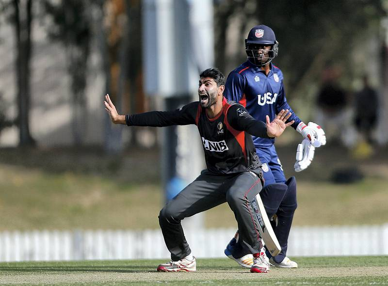 Dubai, March, 16, 2019: Ahmed Raza of UAE appeals for LBW unsuccessfully during their match against USA in the T20 match at the ICC Academy in Dubai. Satish Kumar/ For the National / Story by Paul Radley