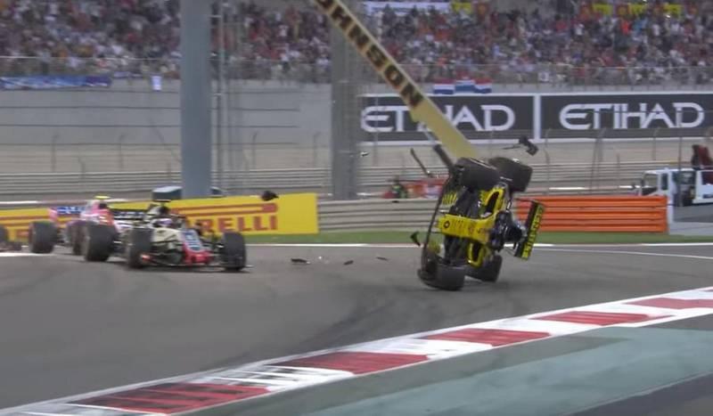 Nico Hulkenberg had a horror crash at the Abu Dhabi Grand Prix (Image: SKY SPORTS)