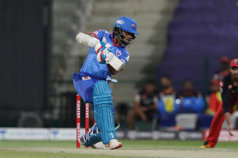 Shikhar Dhawan of Delhi Capitals plays a shot during match 55 of season 13 of the Dream 11 Indian Premier League (IPL) between the Delhi Capitals and the Royal Challengers Bangalore at the Sheikh Zayed Stadium, Abu Dhabi  in the United Arab Emirates on the 2nd November 2020.  Photo by: Pankaj Nangia  / Sportzpics for BCCI