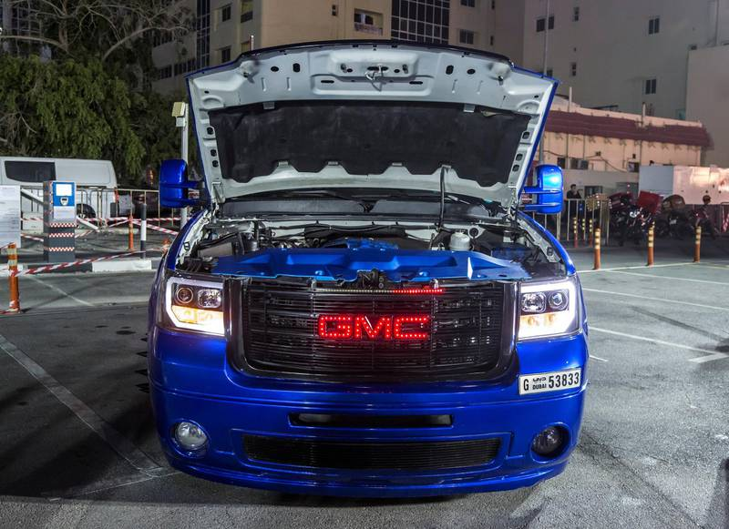 DUBAI, UNITED ARAB EMIRATES - GMC electric blue 3500 HD model 2008 owned by Hasan Al Watani 3rd place winner for The Super Trucks category at UAE Offroaders Show at Al Ghurair Centre.  Leslie Pableo for The National for Adam Workman's story