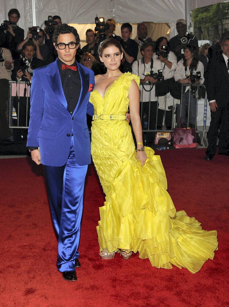 NEW YORK - MAY 05:  Actors Zac Posen (L) and Kate Mara arrive at the Metropolitan Museum of Art Costume Institute Gala, Superheroes: Fashion and Fantasy, held at the Metropolitan Museum of Art on May 5, 2008 in New York City.  (Photo by Stephen Lovekin/Getty Images)
