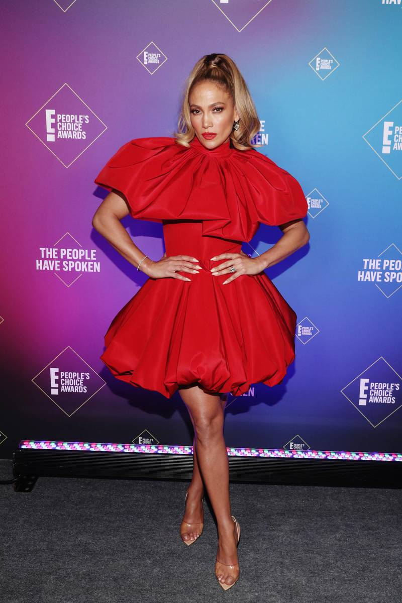 SANTA MONICA, CALIFORNIA - NOVEMBER 15: 2020 E! PEOPLE'S CHOICE AWARDS -- In this image released on November 15, Jennifer Lopez, People's Icon of 2020, attends the 2020 E! People's Choice Awards held at the Barker Hangar in Santa Monica, California and on broadcast on Sunday, November 15, 2020. (Photo by Todd Williamson/E! Entertainment/NBCU Photo Bank via Getty Images)