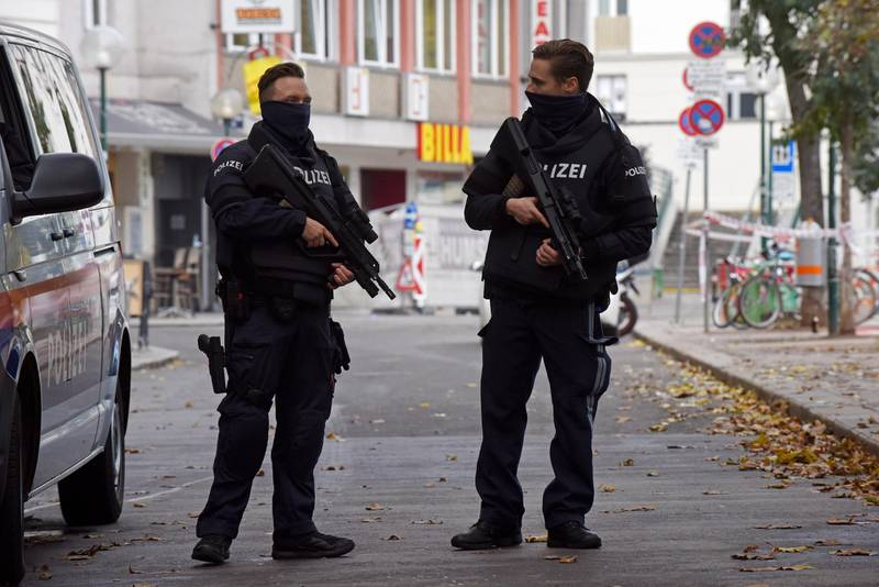 VIENNA, AUSTRIA - NOVEMBER 03: Police stands guard at Schwedenplatz the day after a deadly shooting spree on November 03, 2020 in Vienna, Germany. One gunman, identified as a Chechen man who had sworn alliance to the Islamic State (IS), was shot and killed by police after he ran shooting with a long gun through an area with restaurants and cafes. So far four people are confirmed dead and 17 wounded. Police are searching for a second possible suspect. (Photo by Thomas Kronsteiner/Getty Images)