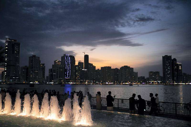 SHARJAH, UNITED ARAB EMIRATES - FEBRUARY, 16 2019.Sunset and Sharjah's skyline on Khalid's lagoon.(Photo by Reem Mohammed/The National)Reporter: Section:  NA