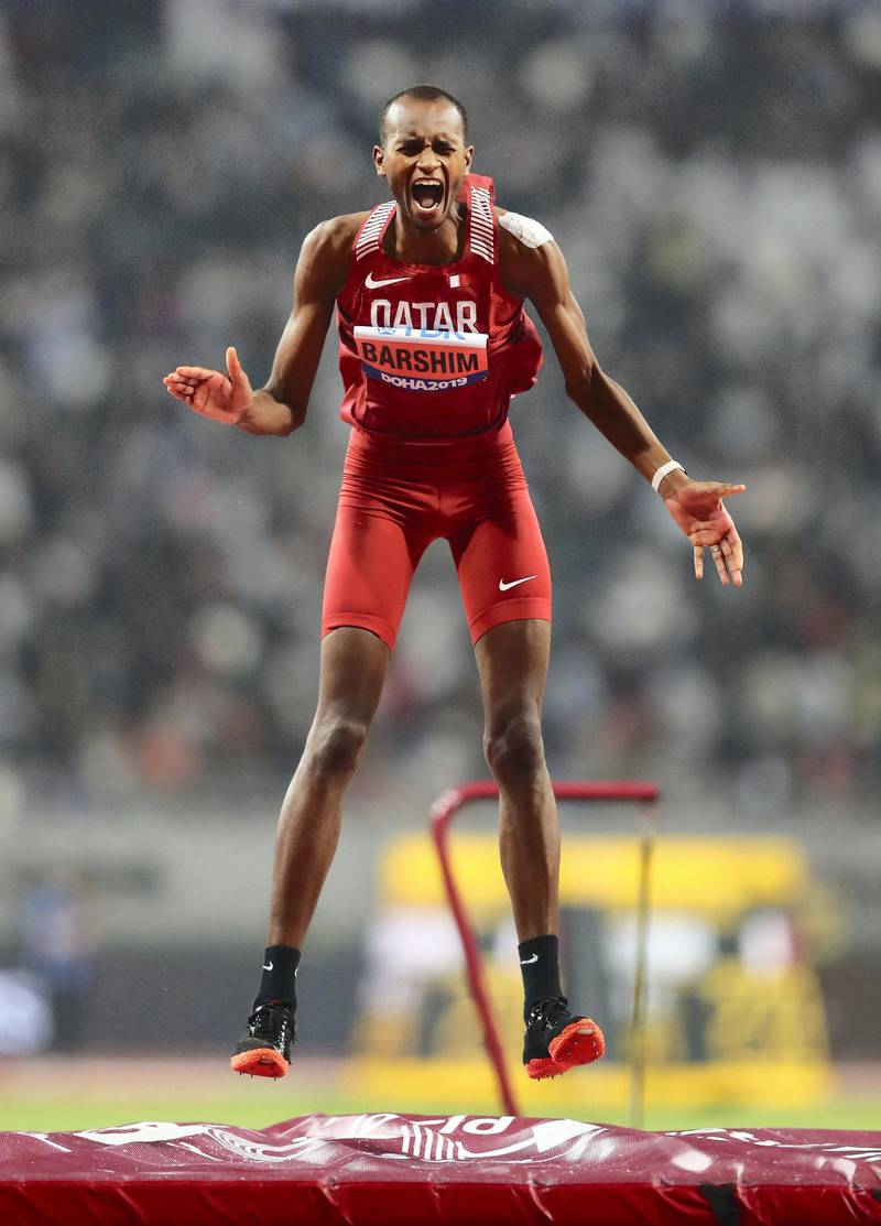 DOHA, QATAR - OCTOBER 04: Mutaz Essa Barshim of Qatar reacts as he competes in the Men's High Jump final during day eight of 17th IAAF World Athletics Championships Doha 2019 at Khalifa International Stadium on October 04, 2019 in Doha, Qatar. (Photo by Michael Steele/Getty Images)