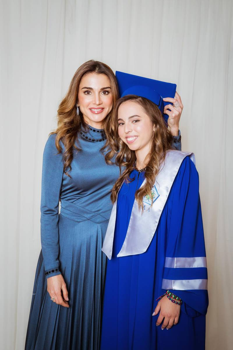 AMMAN, JORDAN- MAY 22: In this handout image provided by the Royal Hashemite Court,  Queen Rania of Jordan (L), during the graduation ceremony of Princess Salma (R) from the International Academy on May 22, 2018 at Amman, Jordan. (Photo by Handout/Royal Hashemite Court via Getty Images)