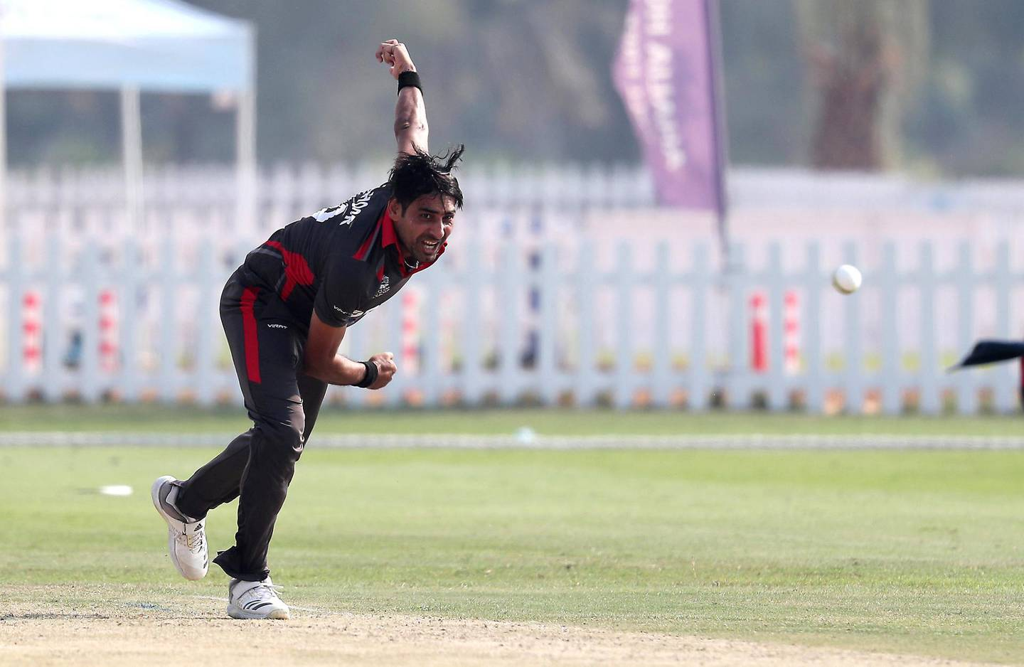 ABU DHABI , UNITED ARAB EMIRATES , October 22  – 2019 :- Zahoor Khan of UAE bowling during the World Cup T20 Qualifiers between UAE vs Jersey held at Tolerance Oval cricket ground in Abu Dhabi.  ( Pawan Singh / The National )  For Sports. Story by Paul