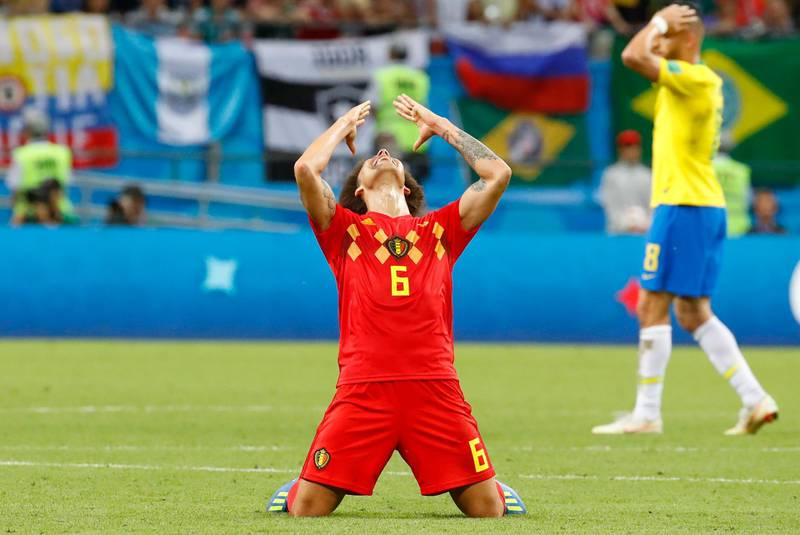 epa06869757 Axel Witsel of Belgium reacts after the FIFA World Cup 2018 quarter final soccer match between Brazil and Belgium in Kazan, Russia, 06 July 2018. Belgium won the match 2-1.  (RESTRICTIONS APPLY: Editorial Use Only, not used in association with any commercial entity - Images must not be used in any form of alert service or push service of any kind including via mobile alert services, downloads to mobile devices or MMS messaging - Images must appear as still images and must not emulate match action video footage - No alteration is made to, and no text or image is superimposed over, any published image which: (a) intentionally obscures or removes a sponsor identification image; or (b) adds or overlays the commercial identification of any third party which is not officially associated with the FIFA World Cup)  EPA/DIEGO AZUBEL   EDITORIAL USE ONLY