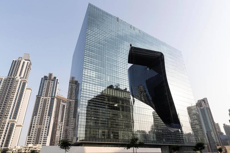 DUBAI, UNITED ARAB EMIRATES. 02 OCTOBER 2019. The Opus building designed by the late Zaha Hadid. (Photo: Antonie Robertson/The National) Journalist: None. Section: Weekend.