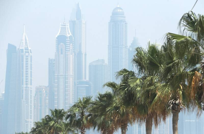 DUBAI, UNITED ARAB EMIRATES , April 17– 2020 :- View of the Towers in Dubai Marina during the hazy weather in Dubai.  (Pawan Singh / The National) For News/Online/Instagram