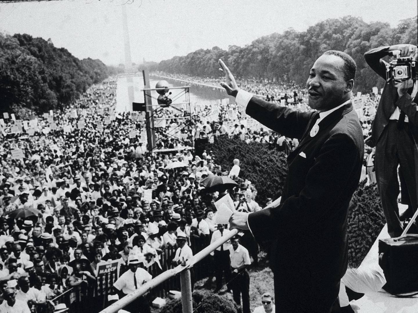 American Civil Rights leader Dr. Martin Luther King Jr. (1929-1968) addresses a crowd at the March On Washington D.C, 28th August 1963. (Photo by CNP/Getty Images)