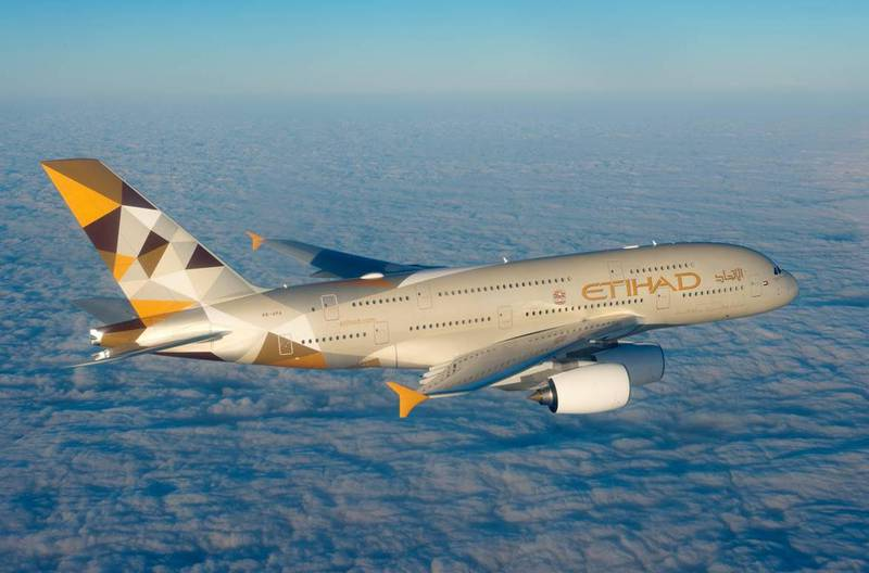 Etihad Airways reports 5th year of consecutive net profit in 2015 (Courtesy Etihad Airways) *** Local Caption ***  Etihad Airways' Airbus A380.jpg