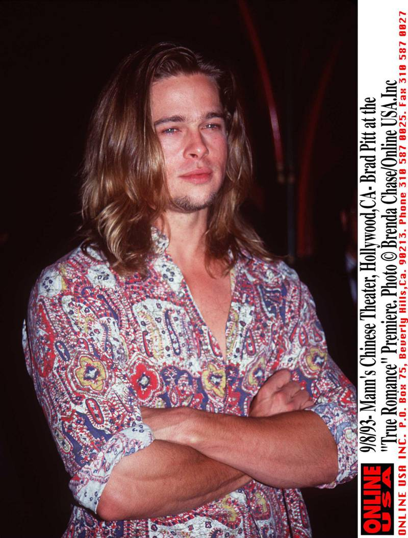 """9/8/93-Mann's Chinese Theater,Hollywood,Ca- Brad Pitt at the """"True Romance """"Premiere."""