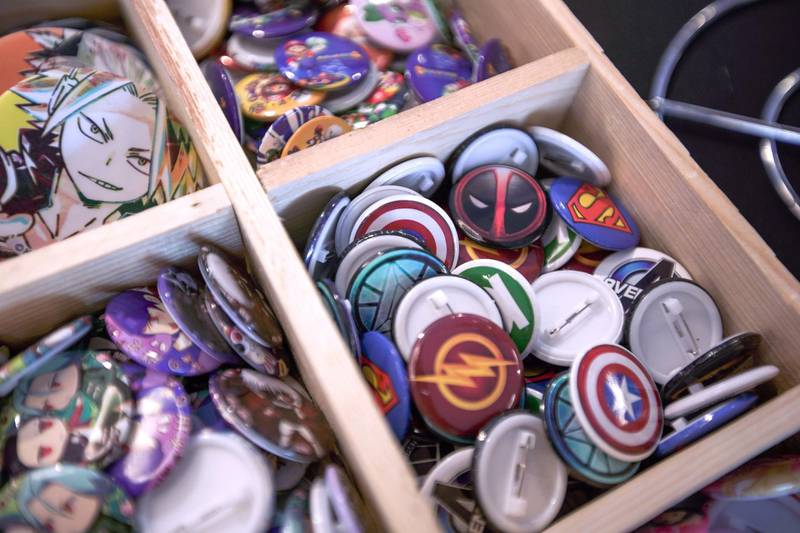 Dubai, United Arab Emirates, February 21, 2020.  Cosplay at Esports Festival World Finals at Meydan Grandstand, Dubai.  Pins for sale.Victor Besa / The NationalSeSection:  WKReporter:  None