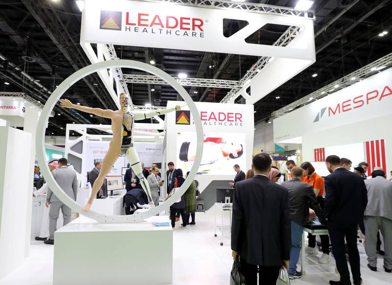 Dubai, United Arab Emirates - Reporter: Dan Sanderson: A model on display outside the Leader healthcare booth as thousands of people gather for the Arab Health conference. Monday, January 27th, 2020. World trade centre, Dubai. Chris Whiteoak / The National