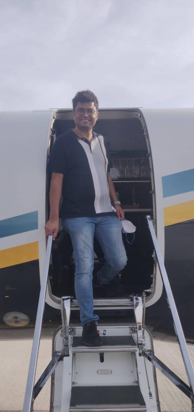 Dr Rahul Gupta returns to Dubai on a business jet with 13 others earlier this month after being stuck in India for weeks when he went to care for his mother-in-law. A quick diagnosis helped save the life of his mother-in-law who contracted Covid-19 in India. Courtesy: Dr Gupta