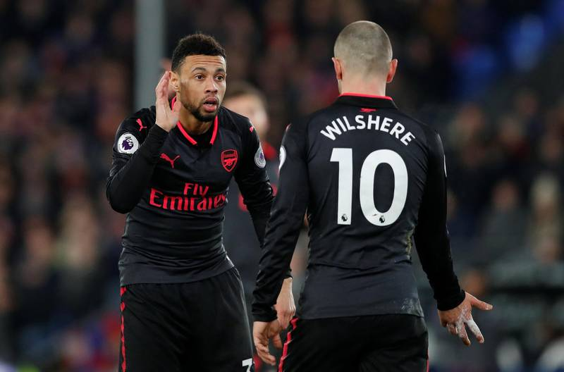 """Soccer Football - Premier League - Crystal Palace vs Arsenal - Selhurst Park, London, Britain - December 28, 2017   Arsenal's Francis Coquelin speaks with Jack Wilshere    Action Images via Reuters/Matthew Childs    EDITORIAL USE ONLY. No use with unauthorized audio, video, data, fixture lists, club/league logos or """"live"""" services. Online in-match use limited to 75 images, no video emulation. No use in betting, games or single club/league/player publications.  Please contact your account representative for further details."""