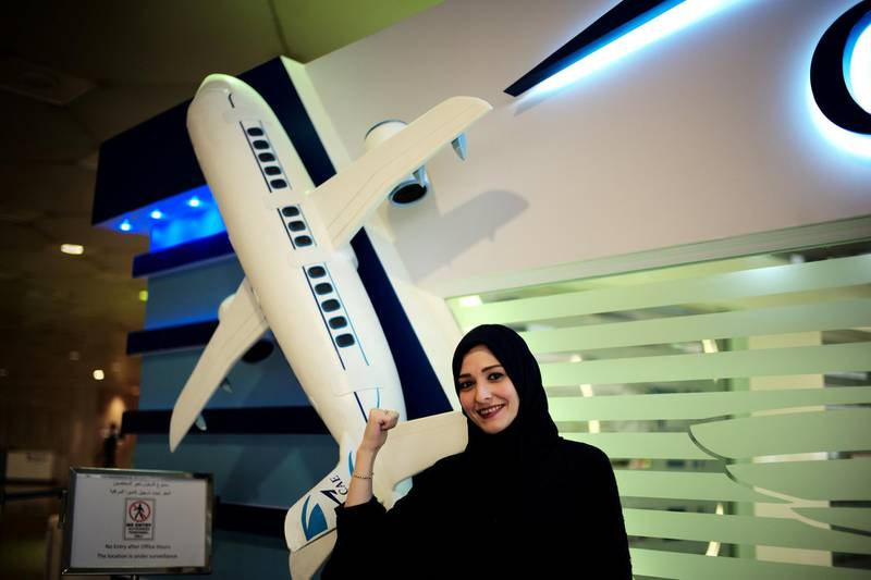 Dalia Yashar, one of the first Saudi students who registered to become a commercial pilot, stands in front of the registration centre, CAE Oxford ATC, where Saudi women can pursue their carrier as a commercial pilots, at King Fahd International Airport in Dammam, Saudi Arabia, July 15, 2018. Picture taken July 15, 2018. REUTERS/Hamad I Mohammed
