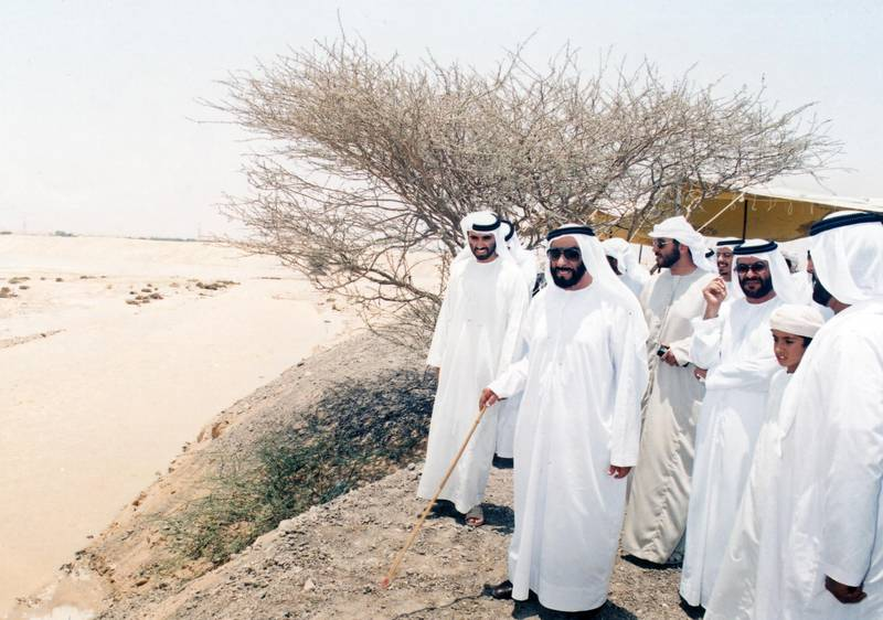 Sheikh Zayed Bin Sultan Al Nahyan on a field trip to Jabal Hafeet, 1995  National Archives images supplied by the Ministry of Presidential Affairs to mark the 50th anniverary of Sheikh Zayed Bin Sultan Al Nahyan becaming the Ruler of Abu Dhabi. *** Local Caption ***  85.jpg