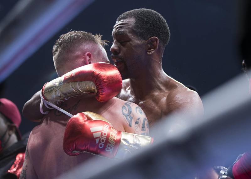 Dubai, United Arab Emirates - Jamel Herring of USA embraced his opponent Carl Framptonn of Northern Ireland after winning the boxing at the Rotunda, Ceasar's Palace, Bluewaters Island, Dubai.  Leslie Pable for The National
