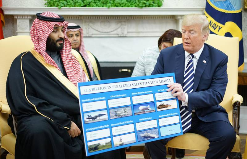 TOPSHOT - US President Donald Trump (R) holds a defence sales chart with Saudi Arabia's Crown Prince Mohammed bin Salman in the Oval Office of the White House on March 20, 2018 in Washington, DC. / AFP PHOTO / MANDEL NGAN