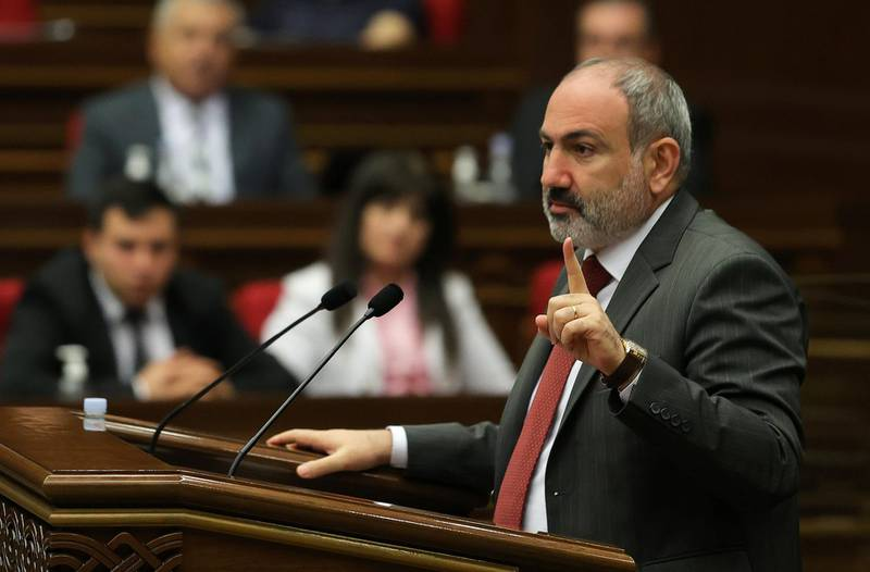 Armenia's acting Prime Minister Nikol Pashinyan speaks during a parliament session in Yerevan, Armenia May 10, 2021. Tigran Mehrabyan/PAN Photo via REUTERS ATTENTION EDITORS - THIS IMAGE HAS BEEN SUPPLIED BY A THIRD PARTY. MANDATORY CREDIT.