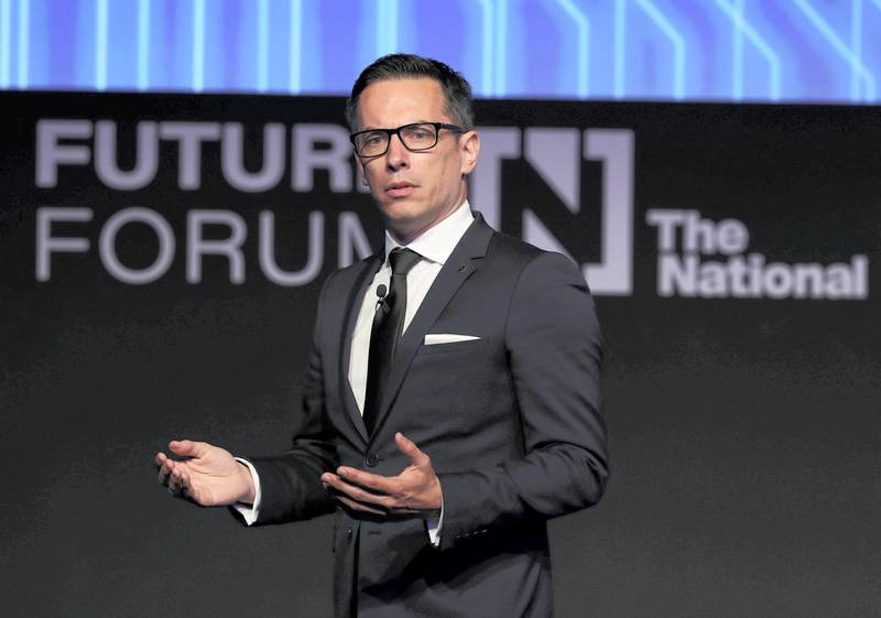 Abu Dhabi, United Arab Emirates - May 8th, 2018: Olivier Outlier speaks about Brain Matters: Future of human enhancement at The National's Future Forum. Tuesday, May 8th, 2018 at Cleveland Clinic, Abu Dhabi. Chris Whiteoak / The National