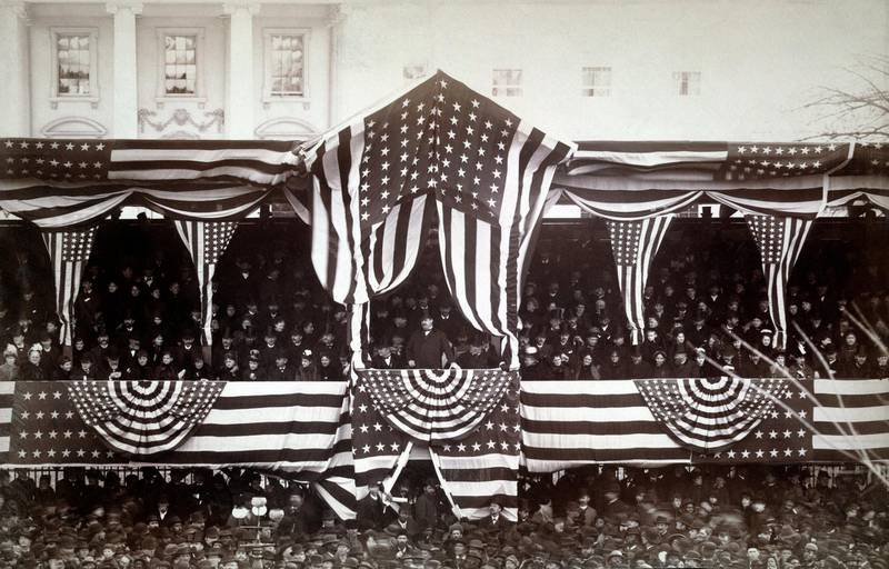 U.S. President Grover Cleveland in Reviewing Stand in front of the White House during his Inauguration, Washington DC, USA, Photograph by J.F. Jarvis, March 4, 1885. (Photo by: Glasshouse Vintage/Universal History Archive/Universal Images Group via Getty Images)