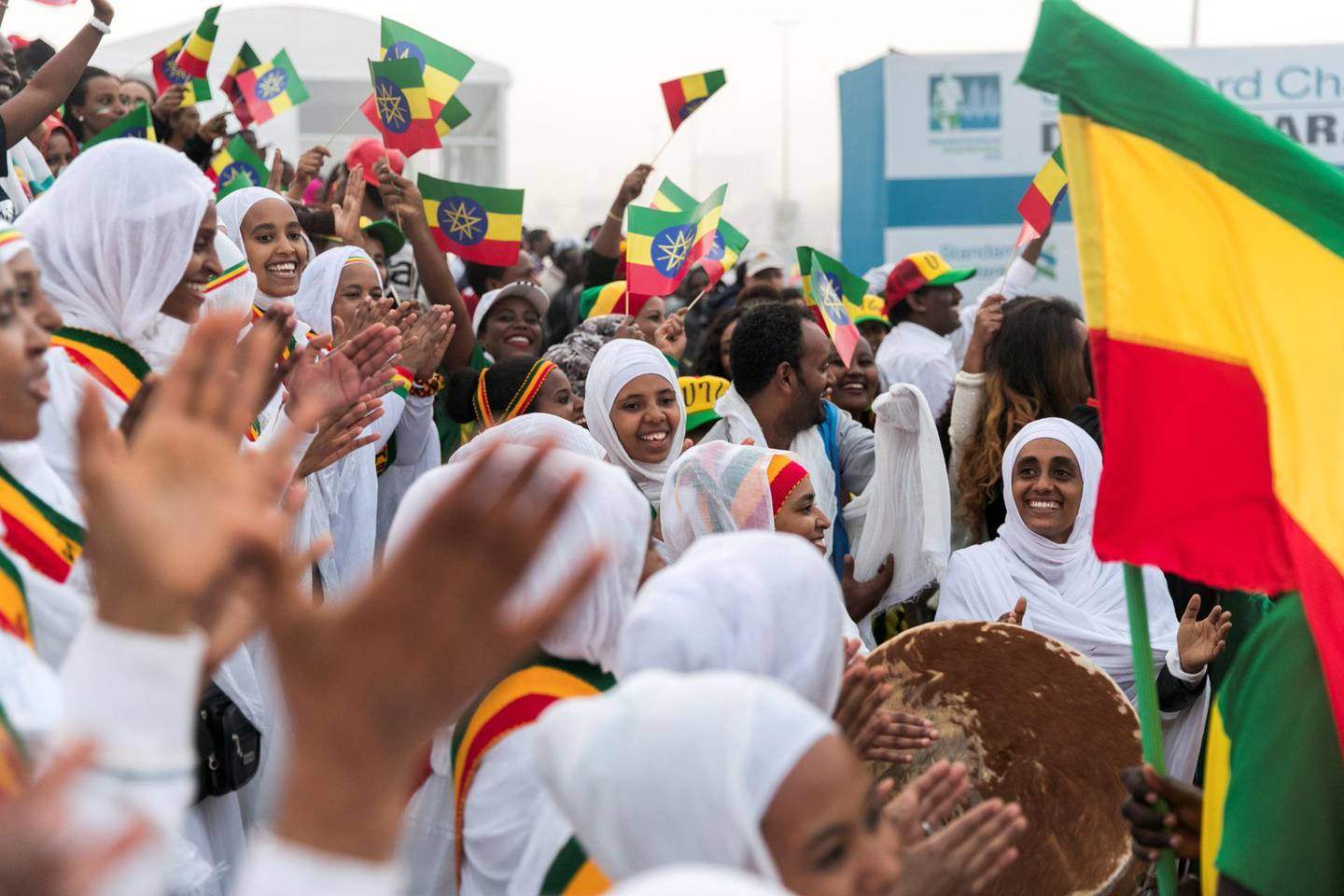 DUBAI, UNITED ARAB EMIRATES - Jan 26, 2018. Ethiopian crowd cheer on at the Standard Chartered Dubai Marathon. (Photo by Reem Mohammed/The National)Reporter: AmithSection: NA + SP