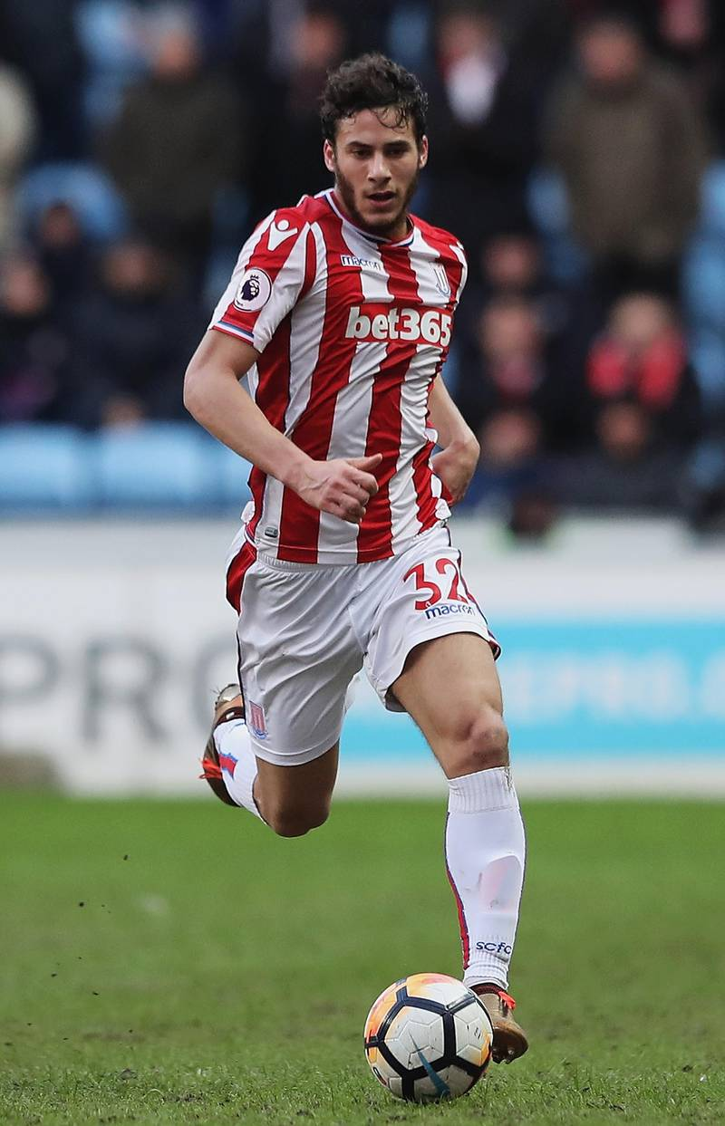 COVENTRY, ENGLAND - JANUARY 06:  Ramadan Sobhi of Stoke City in action during The Emirates FA Cup Third Round match between Coventry City and Stoke City at Ricoh Arena on January 6, 2018 in Coventry, England.  (Photo by Matthew Lewis/Getty Images)