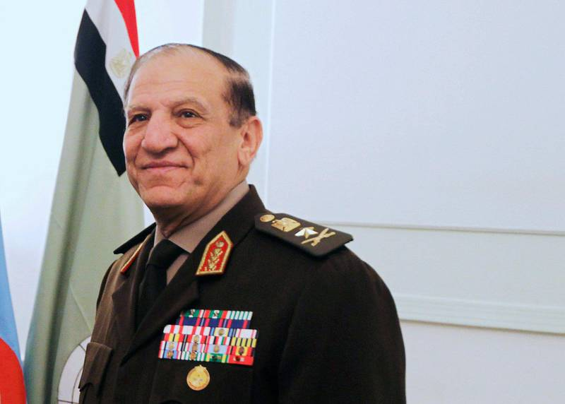 FILE PHOTO - Egypt's Chief of Staff of the Armed Forces Sami Anan during a meeting in Cairo, Egypt March 29, 2011. REUTERS/Khaled Desouki/Pool/File Photo