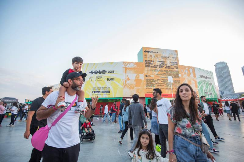 Dubai, United Arab Emirates-  Visitors arriving at the Sole Dubai Festival at D3.  Leslie Pableo for The National for Saeed Saeed's story