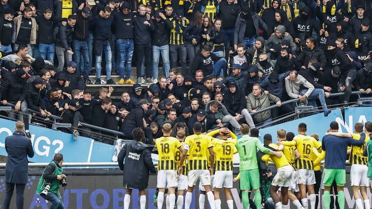 An image that illustrates this article Part of stand at Dutch club collapses as Vitesse Arnhem fans celebrate