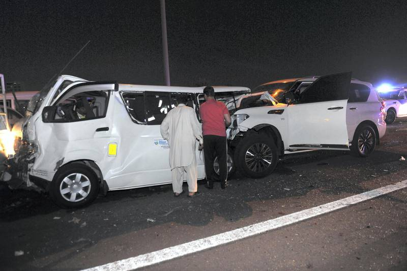 One person died and 5 others were injured in a collision between 6 vehicles before the Mussafah bridge in Abu Dhabi. Courtesy Abu Dhabi Police