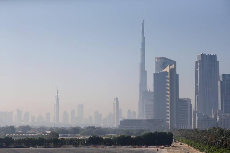 DUBAI, UNITED ARAB EMIRATES -  The Dubai skyline is shrouded in a light fog in Dubai, United Arab Emirates, January 5, 2015. (Photos by: Sarah Dea/The National, Story by: Standalone, News) *** Local Caption ***  SDEA050115-weather_mist02.JPG