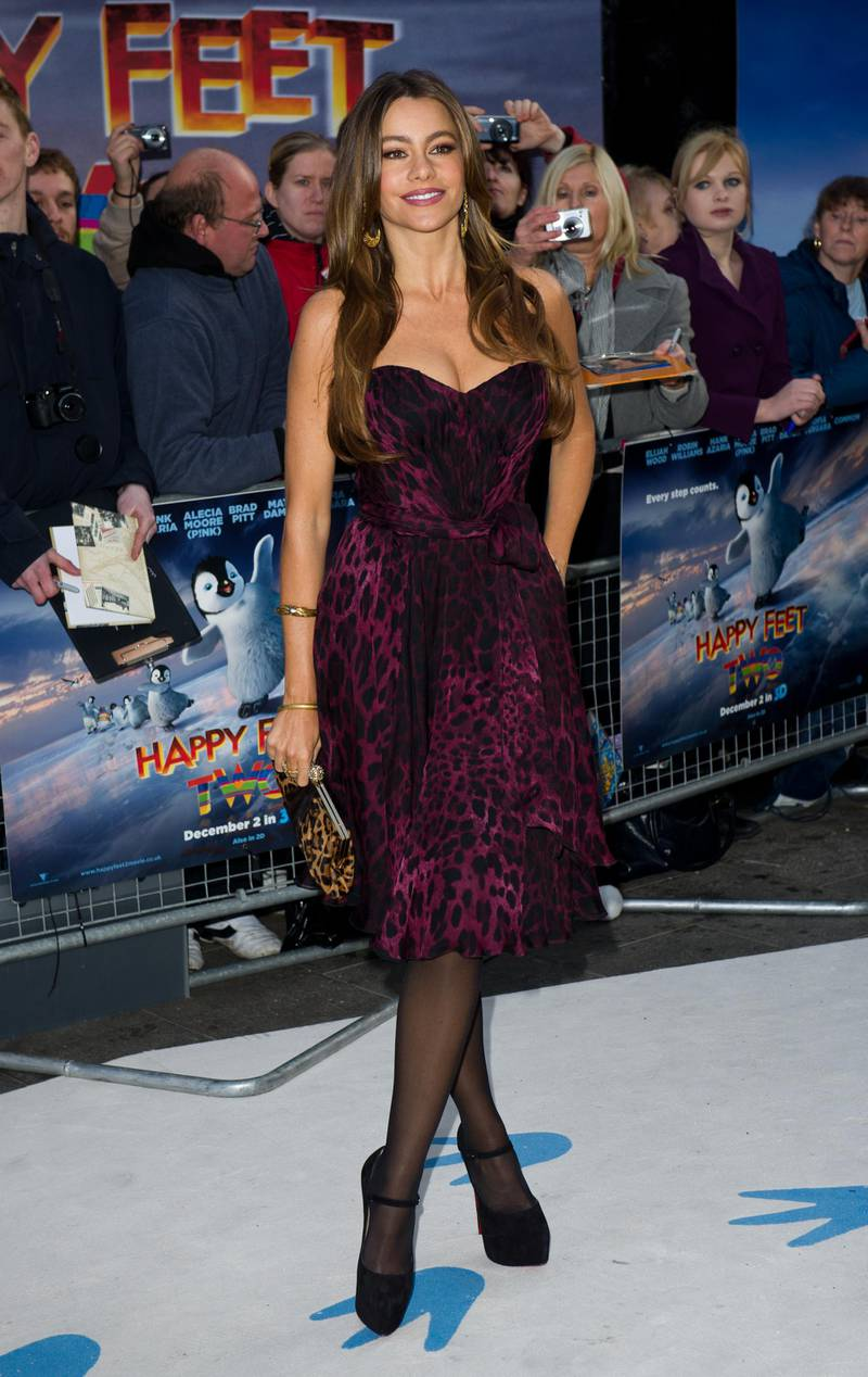 LONDON, ENGLAND - NOVEMBER 17: Sofia Vergara attends the European premiere of 'Happy Feet Two' at the Empire cinema Leicester Square on November 20, 2011 in London, England. (Photo by Ian Gavan/Getty Images)